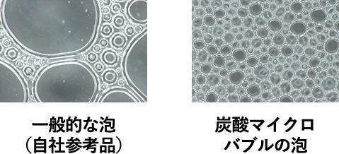 一般的な泡(自社参考品) 炭酸マイクロバブルの泡